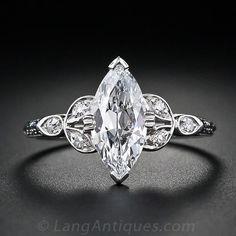 1.18 Carat Marquise Cut Vintage Diamond Engagement Ring - 10-1-4248 - Lang Antiques