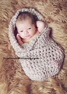 Coccon Newborn Baby wrap Photo prop in BROWNS by MaryYarns on Etsy