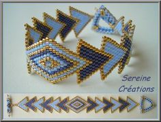 Brazalete Nefertari de Sereine.  PDF Tutorial in French.  Brick stitch.  Clear schemas. #seed #bead #tutorial (google will translate text).