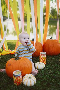 Like the candy corn in jars. Maybe put baby in pumpkin though. Pumpkin Photos, Baby In Pumpkin, Everything Baby, Fall Photos, Candy Corn, Halloween, Photo Sessions, Minis, Photography Ideas