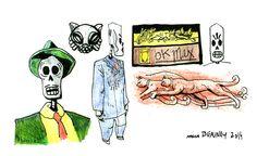 Croquis tirés du jeu Grim Fandango #illustration #drawing #croquis #dessin #Tim Schafer #grimfandango #LucasArts