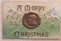 Christmas Greetings Santa Claus Air Brushed Embossed Antique Postcard-m34 #Christmas