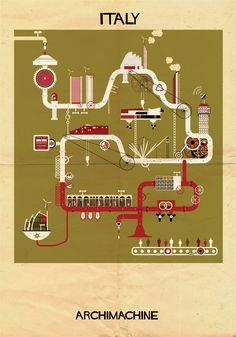"""ARCHIMACHINE: 17 países ilustrados como """"máquinas arquitetônicas"""",Courtesy of Federico Babina"""
