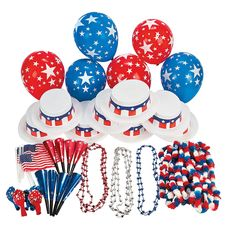 Patriotic Party Kit For 50 - OrientalTrading.com.  Lots of stuff for $50 (total 250 pieces) 50 flags, balloons, blowers cups, hats