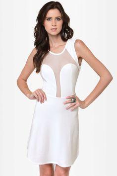 LULU*S  See You Through Ivory Cutout Dress