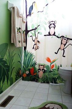 Tropical Kids Bathroom With Mainstays Monkey Decorative Bath Collection Rug