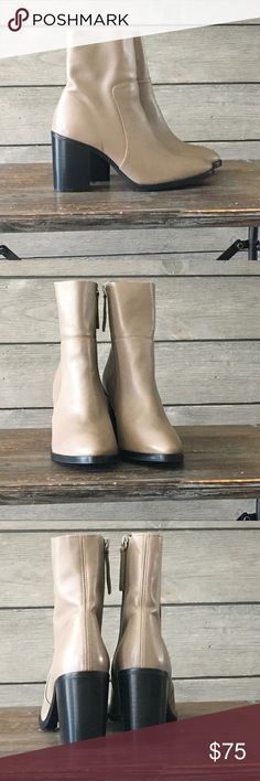 Topshop NIB Million Taupe Boots Size 8.5 Brand new leather stacked heel boots. 3.5 inch heel. Topshop Shoes Ankle Boots & Booties