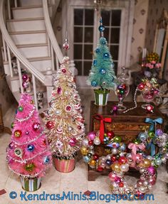Miniature bottle brush trees, tutorial at the site about how to make mini ornaments.