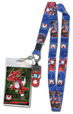 Digimon Fusion: Shoutmon & Mikey w/ Digivice Lanyard ID Holder with Charm - HobbyStuf