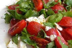 Two of my favourite ingredients! Tomatoes and fresh basil!!! love this combo!