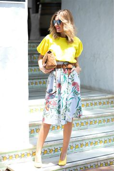 Wide Waistband Pleated A Line Skirt
