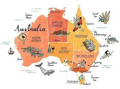 Happy Australia Day This is a map for Waitrose food magazine! Gold Coast Australia, Australia Map, Western Australia, Australia Crafts, Australia Tattoo, Queensland Australia, Melbourne Australia, Travel Maps, Travel Posters