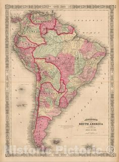 Anniversary Gifts For Couples, Wedding Gifts For Couples, Wedding Ideas, Old Maps, Antique Maps, Vintage Wall Art, Vintage Walls, South America Map, Central America