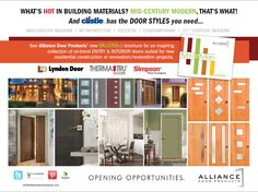 An ad for Castle's IDEAS in-store customer/contractor magazine. 21st Century, Mid Century, Marketing Information, Mid-century Modern, Contemporary, Residential Construction, Building Materials, Magazine, Doors