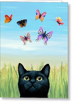 Cat 606 Nature Greeting Card by Lucie Dumas