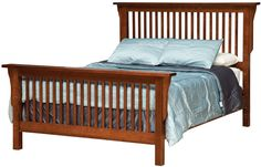 King Mission-Style Frame Bed with Headboard & Footboard Slat Detail