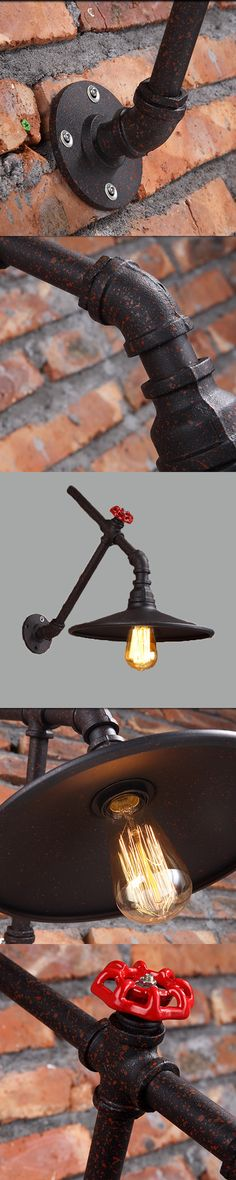 Loft creative personality retro rural water pipe wall lamp Edison light bulb fashion lights