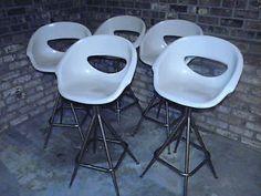 5 Vintage Joal Fiberglass Shell Bar Stool Chairs Eames Miller Era Swivel Chair