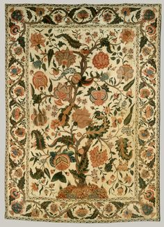 This type of dyed cloth, known as a palampore from the Hindi term for a bed cover, palangposh, was made in abundance in India for the European market in the late seventeenth and eighteenth centuries. The size of the palampores conformed to bed sizes in Europe, and their decoration, often with a central tree laden with fruits and birds, combined elements from English embroideries, Chinese decorative objects, and Indian textiles. Lengths of such fabric also hung on the walls of the bedrooms.