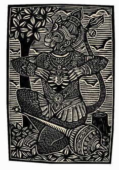 Hanuman Woodblock Print