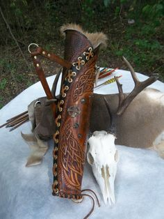HTooled Leather Archery Quiver Bow Hunters Archery Hunters, Celtic, Viking, Renaissance Reenactments