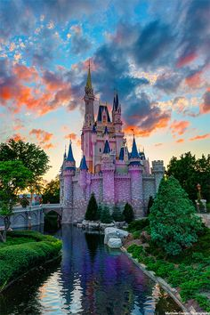 Beautiful sunset over Cinderella's castle.  Can't wait!