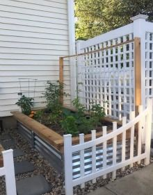 Metalgardenbeds.com with a custom wood frame on the top - galvanized steel raised garden bed