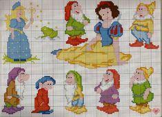 Biancaneve e i sette nani snow white & the seven dwarfs вышивка крестом Disney Cross Stitch Patterns, Cross Stitch For Kids, Cross Stitch Baby, Cross Stitch Charts, Cross Stitch Designs, Cross Stitching, Cross Stitch Embroidery, Embroidery Patterns, Disney Stitch