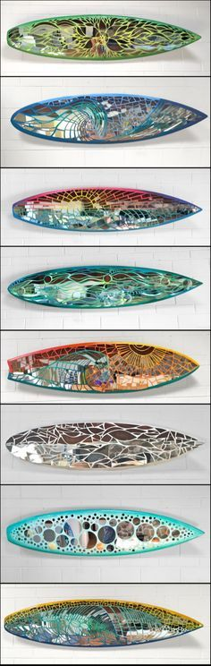 Mirror Mosaic Surfboards - these are so beautiful! Mirror Mosaic, Mosaic Art, Mosaic Glass, Mosaic Tiles, Glass Art, Stained Glass, Mosaic Floors, Sea Glass, Mosaic Crafts