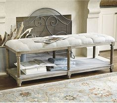 Saverne Tufted Bench - traditional - bedroom benches - Ballard Designs
