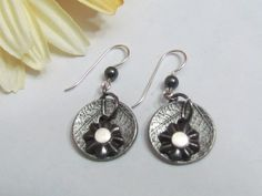 Gun Metal Earrings, Mixed Metals, ExpressionsStamped Jewelry, Handmade in Michigan