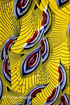 Ankara Fabric of The Day: Yellow Blue Red White Leaves Wax Prints