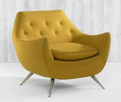 mustard yellow mid century chair