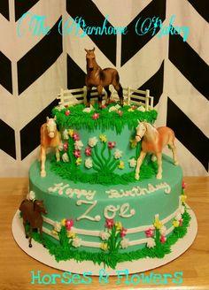 Horses Farm Flowers Theme Cake