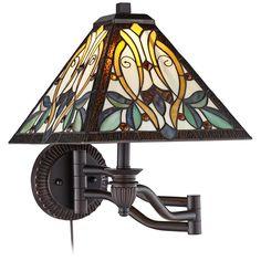 Robert Louis Tiffany Victorian Art Glass Swing Arm Wall Lamp - Style # 8G541