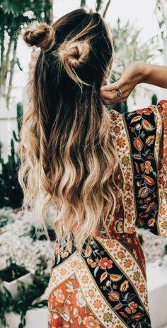 half buns + floral maxi dresses