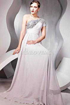 Stunning Empire Waist Formal Dresses One Shoulder Sequin Floor Length - Evening Dresses - Special Occasions