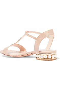 Nicholas Kirkwood - Casati Embellished Patent-leather Sandals - Beige - IT37.5