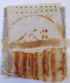 Julia Wright layered fabric collage with rust dyed fabric