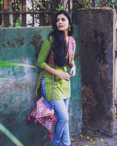 (Link in bio) college wear, college outfits, college fashion, indian outfit Casual Indian Fashion, Indian Fashion Dresses, Indian Designer Outfits, Indian Outfits, Western Outfits, Style Fashion, High Fashion, Simple Kurti Designs, Kurta Designs Women