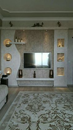Decorating Ideas for Tv Wall . Decorating Ideas for Tv Wall . Useful Ideas Decor Tv Wall Decor solution Living Room Wall Units, Living Room Tv Unit Designs, Living Room Decor, Tv Wall Design, Ceiling Design, Bookshelf Design, Modern Tv Wall Units, Plafond Design, Tv Wall Decor