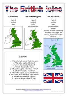 The British Isles worksheet - Free ESL printable worksheets made by teachers United Kingdom Map, Snowdonia National Park, England And Scotland, English Lessons, English Class, Teaching English, English Grammar, English Language, Printable Worksheets