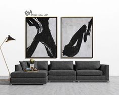 Large Set of 2 Painting, Set of 2 Wall Art Set, Canvas Painting, Hand painted Abstract Painting, Black white brown - Ethan Hill Art Black And White Painting, White Art, Black White, Wall Art Sets, Large Wall Art, Frame Store, Mid Century Modern Art, Wooden Bar, Office Art