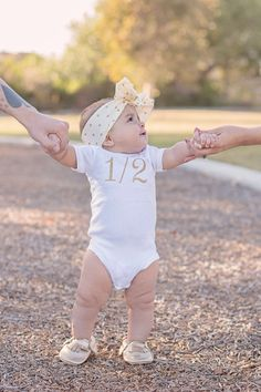 Silver or Gold 1/2 Birthday Onesie CAKE SMASH by LolaBeanClothing