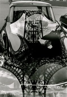 Eiffel Tower reflection on DS hood - Marc Riboud 1964.