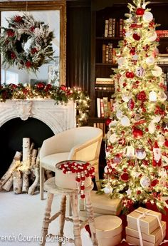12 Trees of Christmas- Red & White - French Country Cottage
