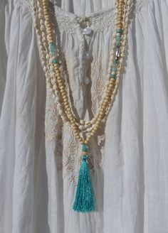 beaded tassel necklace - turquoise long tassel necklace - yoga necklace - inspired by buddhist mala prayer beads - yoga by the sea