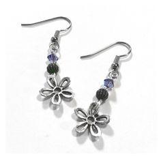 Silver Flower Earrings, Purple and Silver Earrings from Loralyn Designs