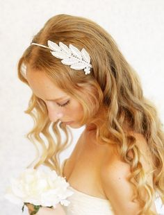 Wedding headband with leaves