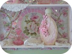 Shabby chic shelf, mosaic, pink roses, chic cottage, pretty roses, china mosaic, furniture, victorian home,     www.RomancingTheRoseStudio.com ©Website Design by: OneSpringStreet.NET 2011